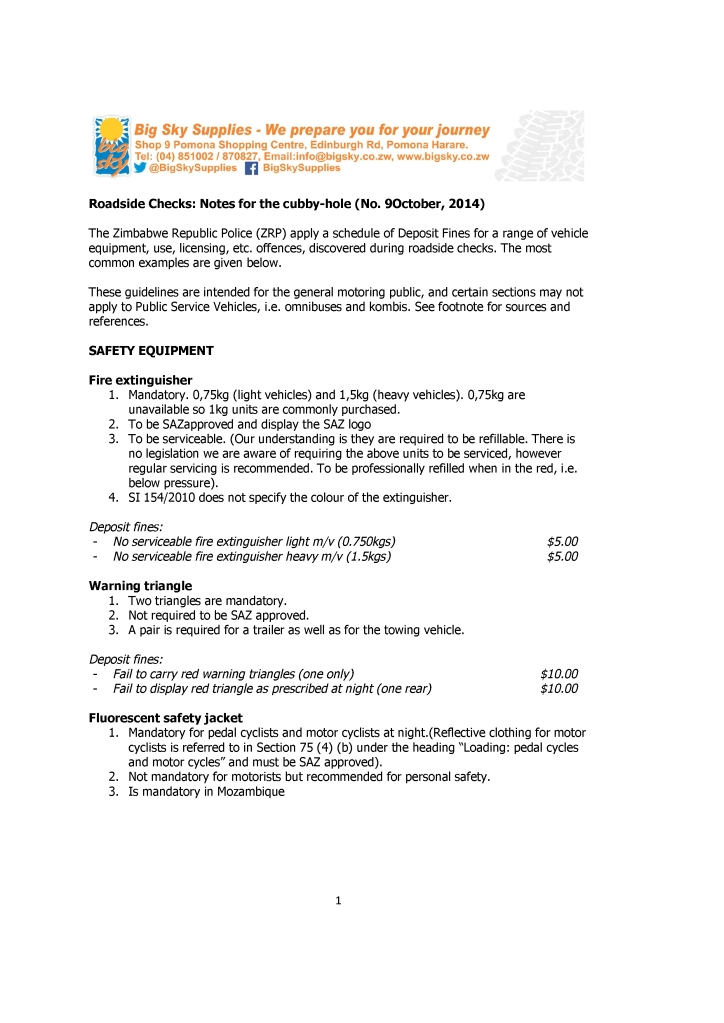 Big Sky - Roadside checks - Notes for the cubby hole (No. 9 Oct-14)-1.pdf1